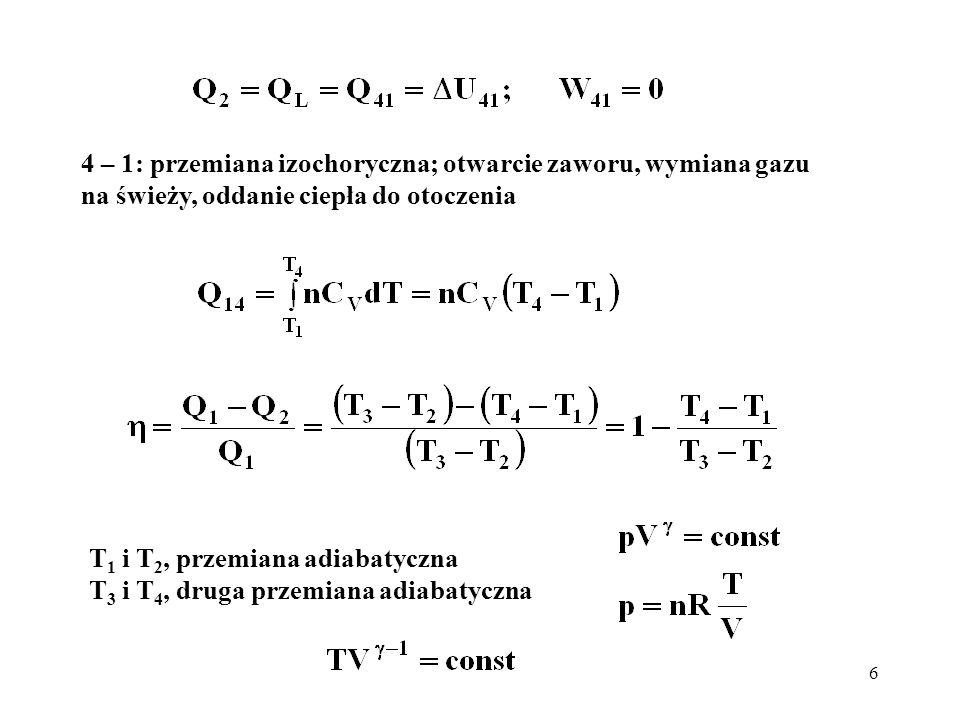 4 – 1: przemiana izochoryczna; otwarcie zaworu, wymiana gazu na świeży, oddanie ciepła do otoczenia