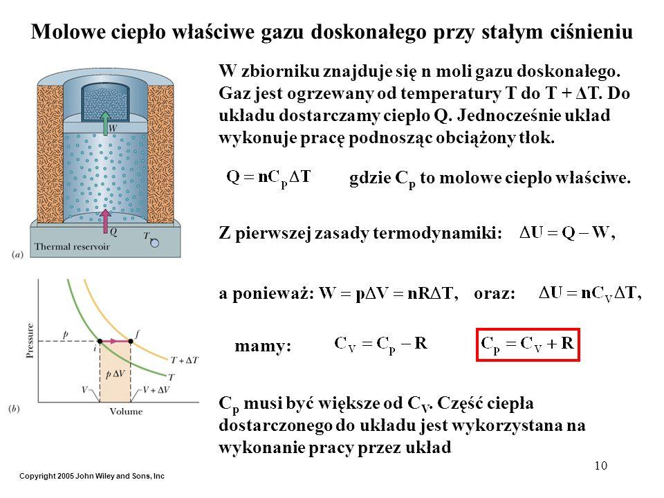 Molowe ciepło właściwe gazu doskonałego przy stałym ciśnieniu