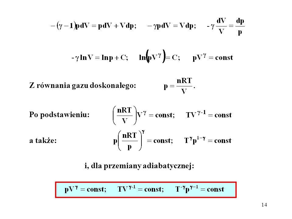 Z równania gazu doskonałego:
