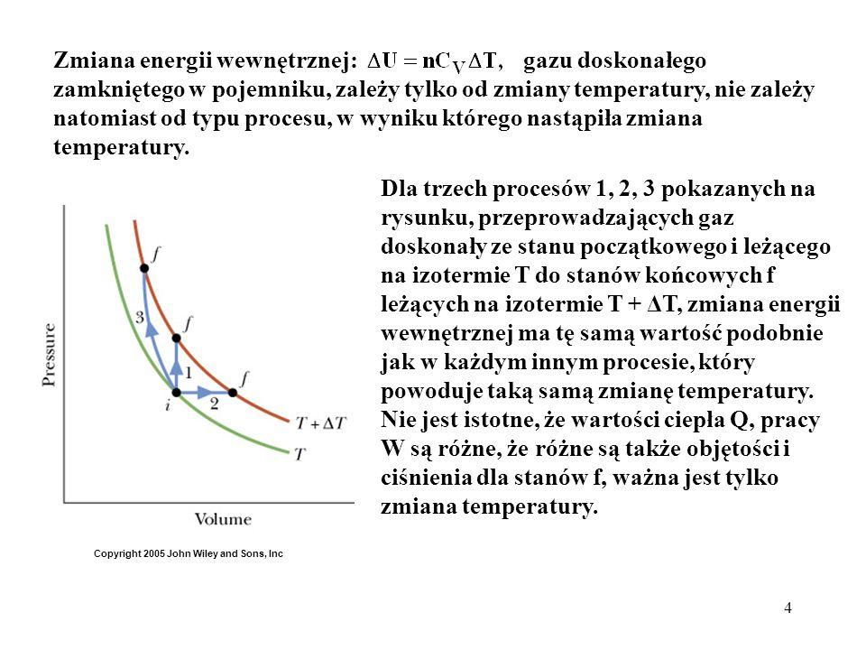Zmiana energii wewnętrznej: gazu doskonałego zamkniętego w pojemniku, zależy tylko od zmiany temperatury, nie zależy natomiast od typu procesu, w wyniku którego nastąpiła zmiana temperatury.