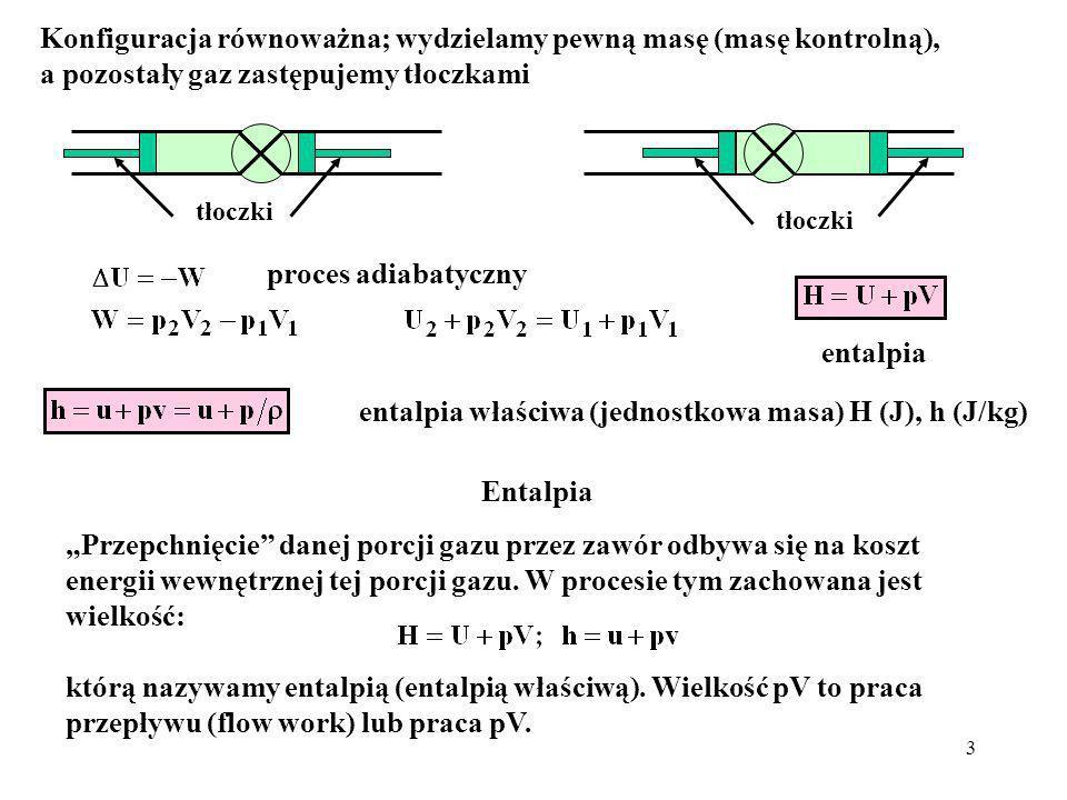 entalpia właściwa (jednostkowa masa) H (J), h (J/kg)