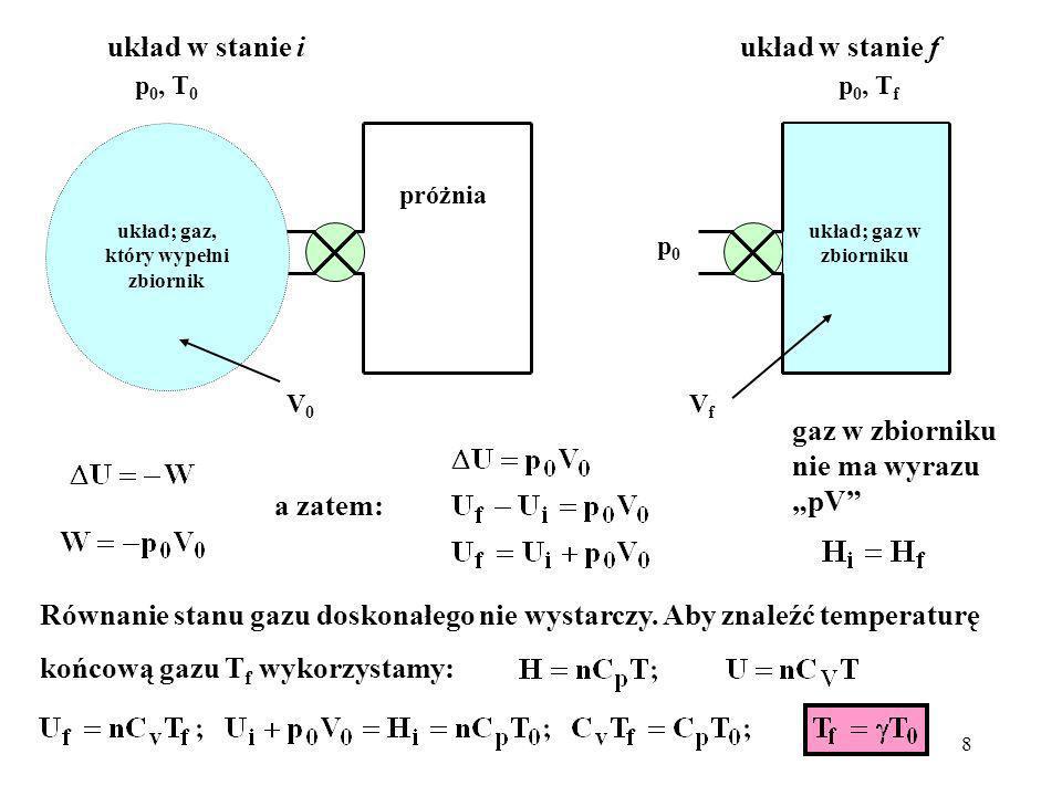 układ; gaz, który wypełni zbiornik