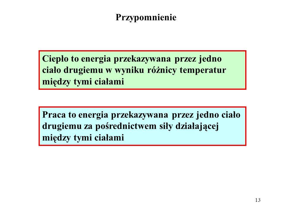 Przypomnienie Ciepło to energia przekazywana przez jedno ciało drugiemu w wyniku różnicy temperatur między tymi ciałami.