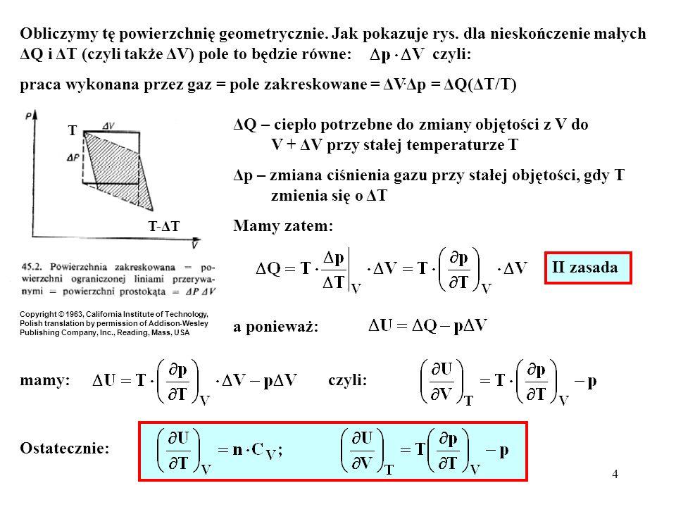 praca wykonana przez gaz = pole zakreskowane = ΔV.Δp = ΔQ(ΔT/T)