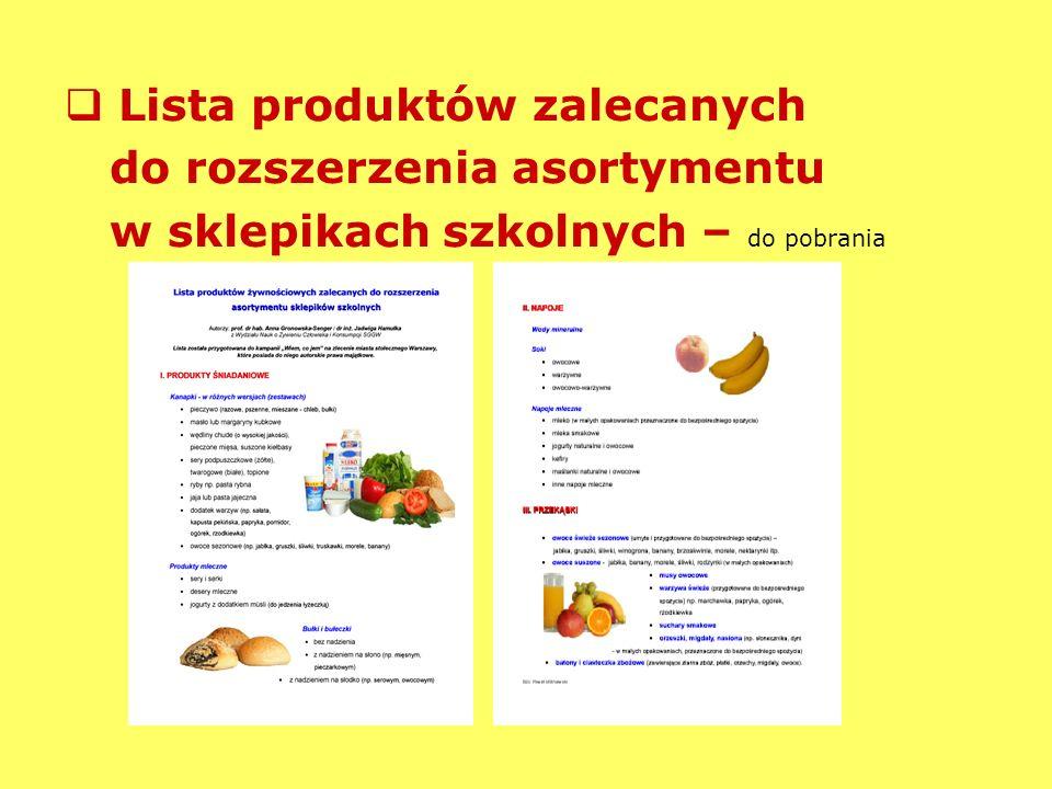 Lista produktów zalecanych