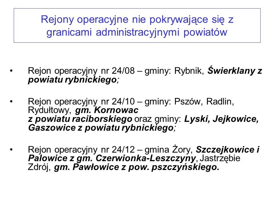 Rejony operacyjne nie pokrywające się z granicami administracyjnymi powiatów