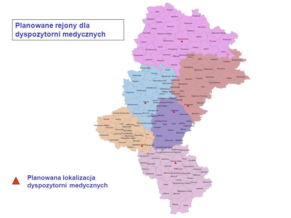 Planowane rejony dla dyspozytorni medycznych