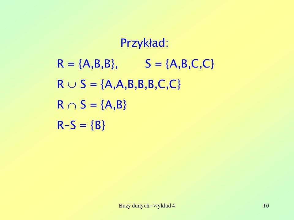 Przykład: R = {A,B,B}, S = {A,B,C,C} R  S = {A,A,B,B,B,C,C}