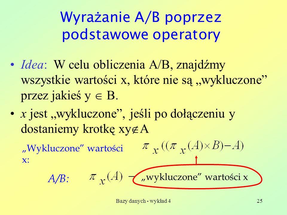 Wyrażanie A/B poprzez podstawowe operatory
