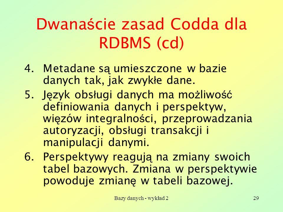 Dwanaście zasad Codda dla RDBMS (cd)