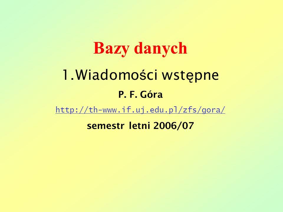Bazy danych Wiadomości wstępne P. F. Góra semestr letni 2006/07