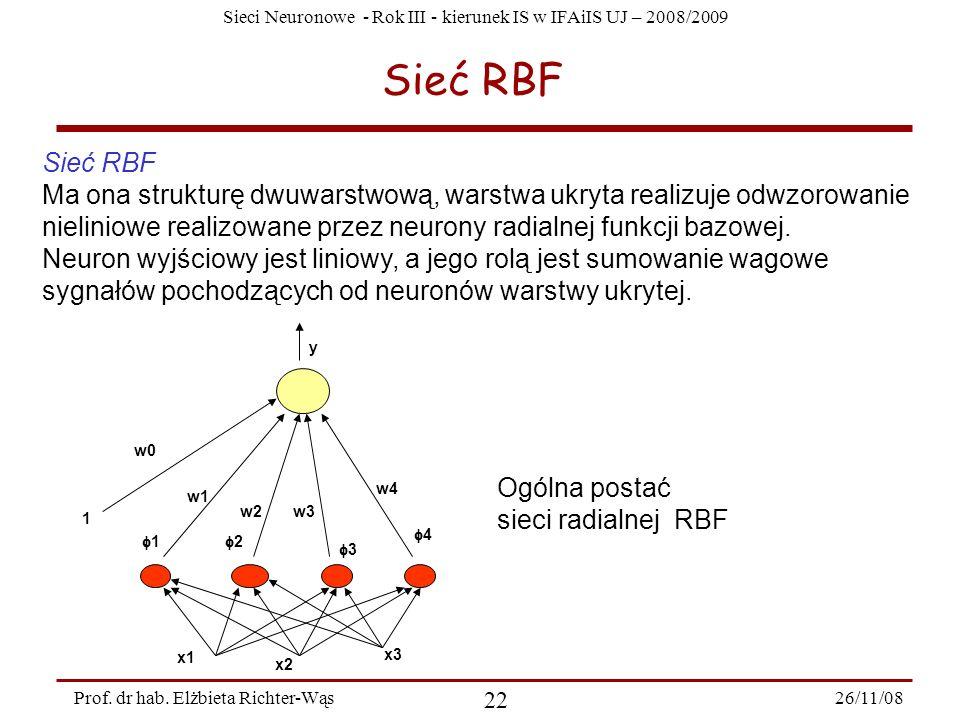 Sieć RBF Sieć RBF.