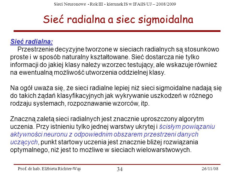 Sieć radialna a siec sigmoidalna