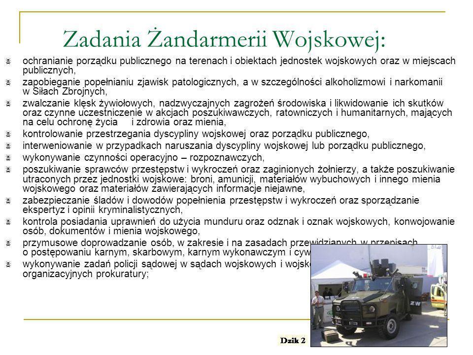 Zadania Żandarmerii Wojskowej: