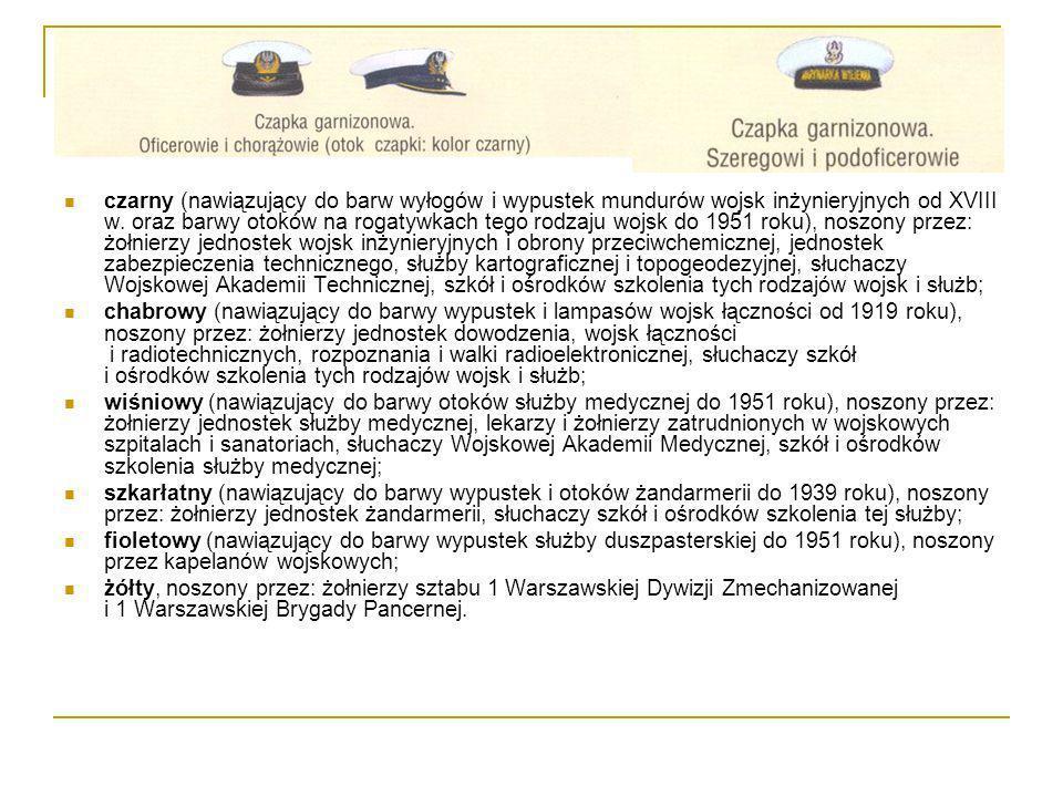 czarny (nawiązujący do barw wyłogów i wypustek mundurów wojsk inżynieryjnych od XVIII w. oraz barwy otoków na rogatywkach tego rodzaju wojsk do 1951 roku), noszony przez: żołnierzy jednostek wojsk inżynieryjnych i obrony przeciwchemicznej, jednostek zabezpieczenia technicznego, służby kartograficznej i topogeodezyjnej, słuchaczy Wojskowej Akademii Technicznej, szkół i ośrodków szkolenia tych rodzajów wojsk i służb;