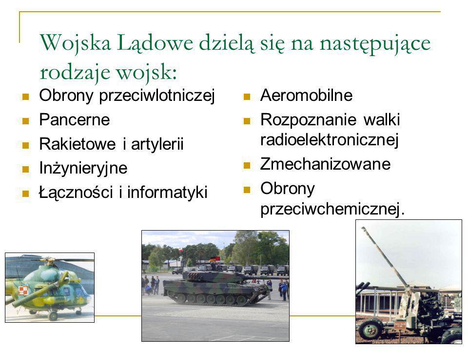Wojska Lądowe dzielą się na następujące rodzaje wojsk: