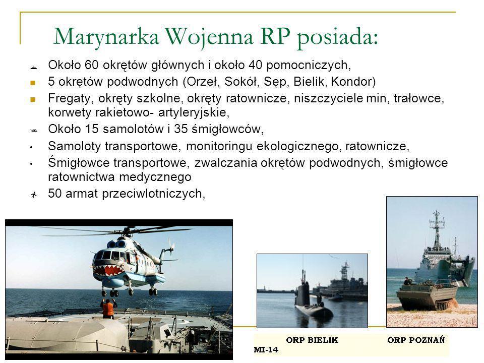 Marynarka Wojenna RP posiada: