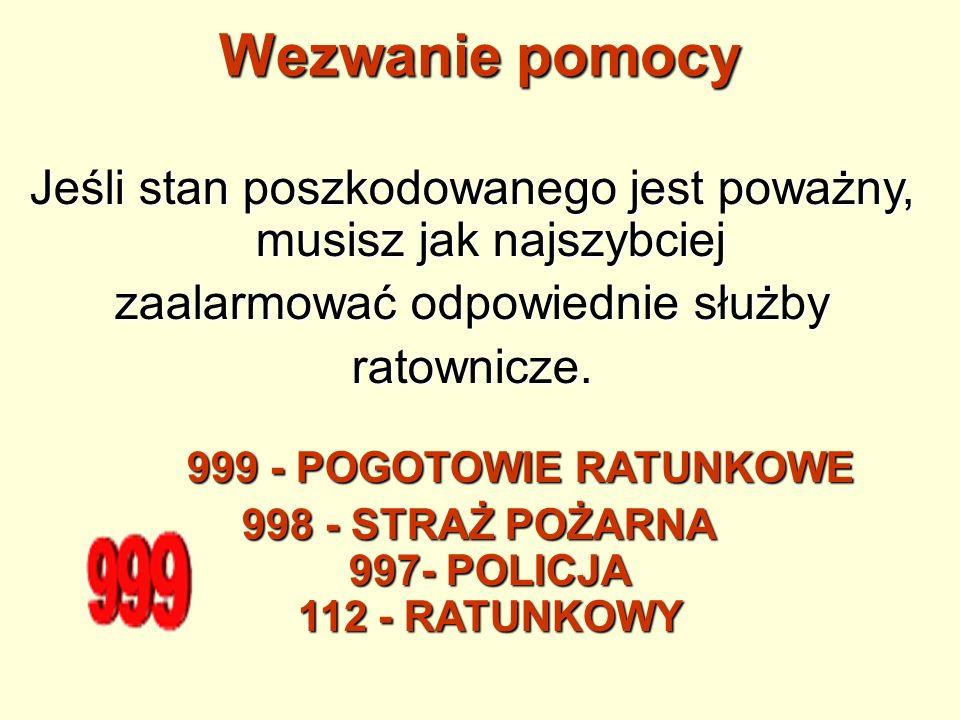 998 - STRAŻ POŻARNA 997- POLICJA 112 - RATUNKOWY