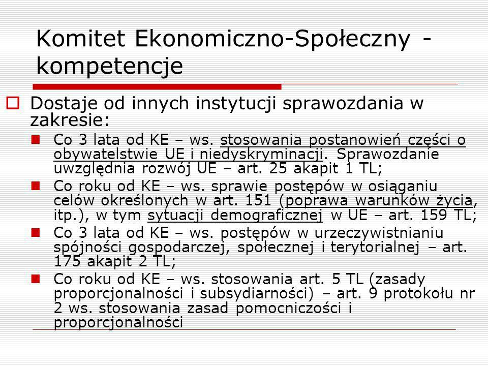 Komitet Ekonomiczno-Społeczny - kompetencje