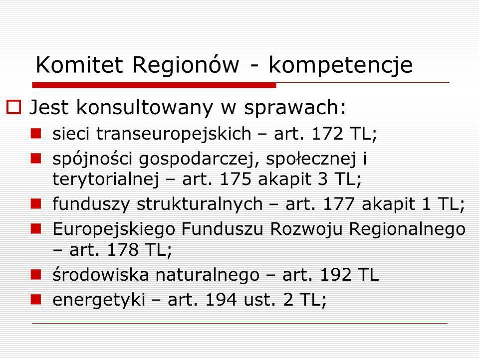 Komitet Regionów - kompetencje