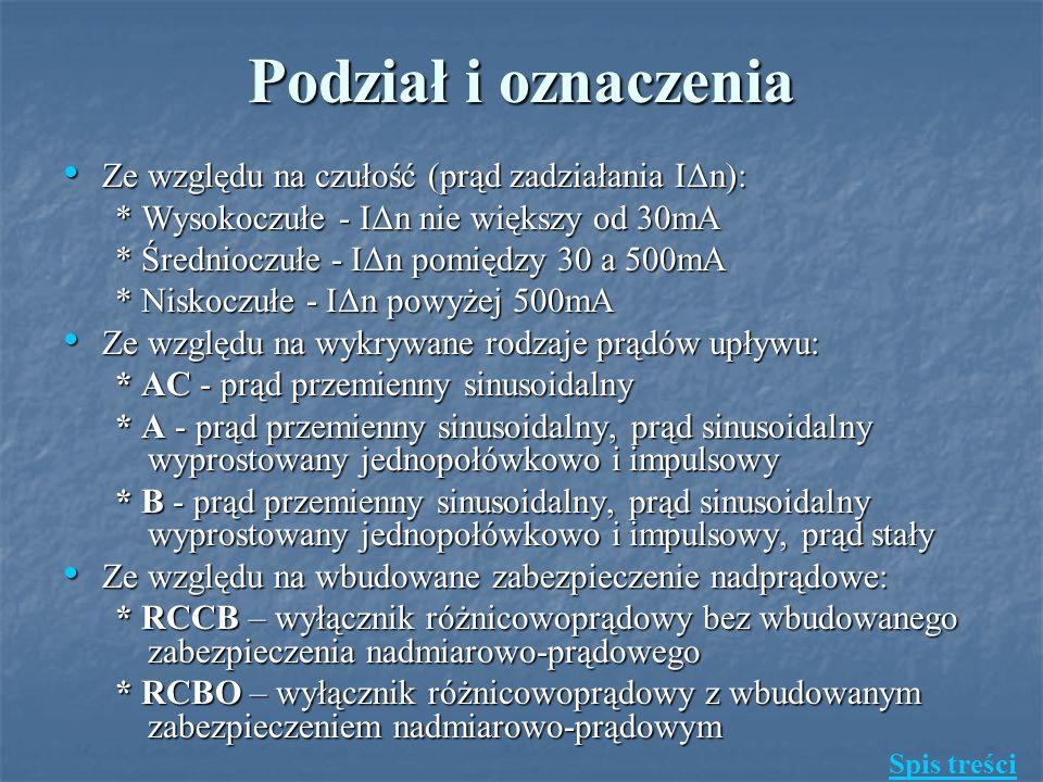 Podział i oznaczenia Ze względu na czułość (prąd zadziałania IΔn):
