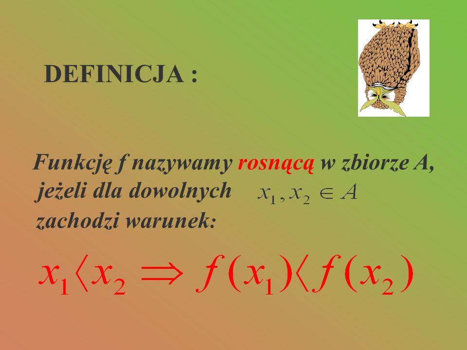 DEFINICJA : Funkcję f nazywamy rosnącą w zbiorze A,