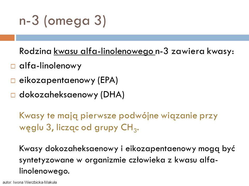 n-3 (omega 3) Rodzina kwasu alfa-linolenowego n-3 zawiera kwasy: