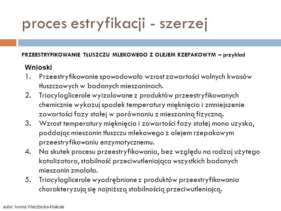 proces estryfikacji - szerzej