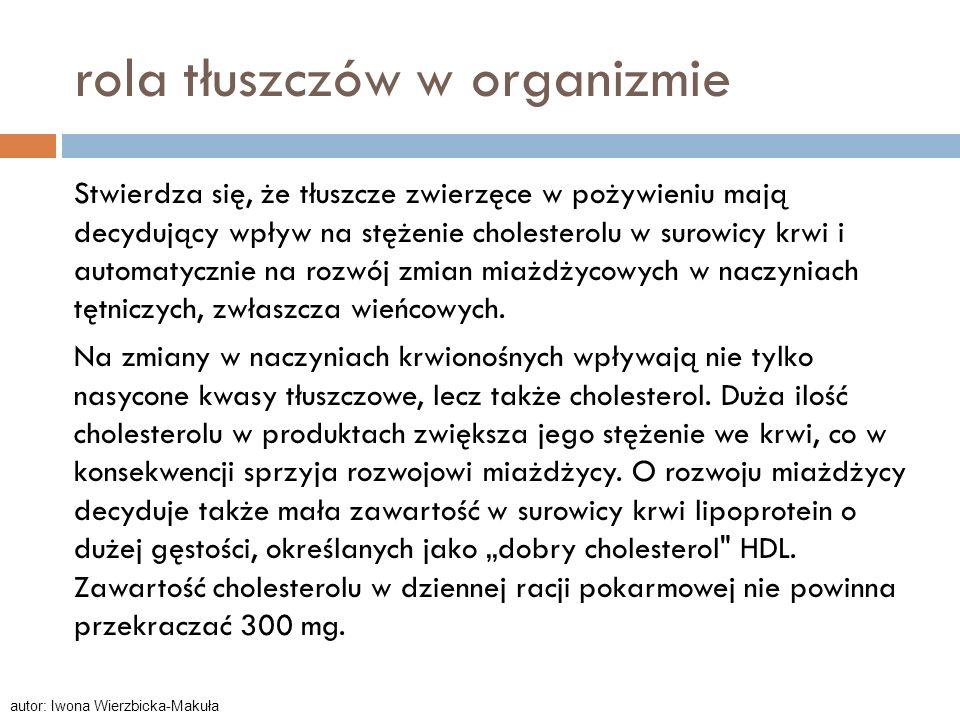 rola tłuszczów w organizmie