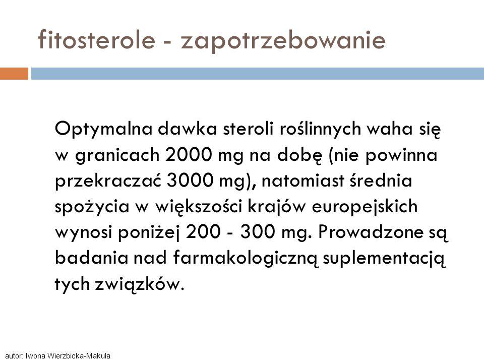 fitosterole - zapotrzebowanie