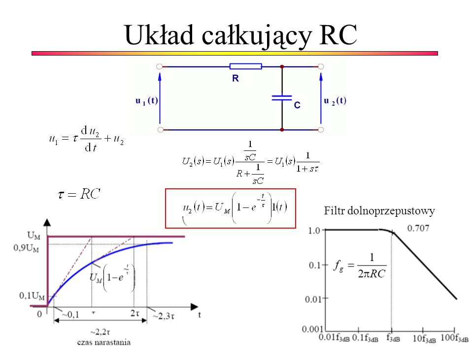 Układ całkujący RC Filtr dolnoprzepustowy