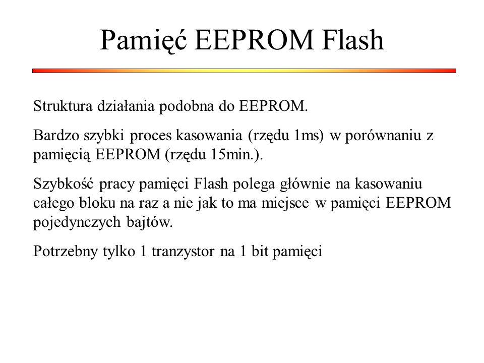 Pamięć EEPROM Flash Struktura działania podobna do EEPROM.