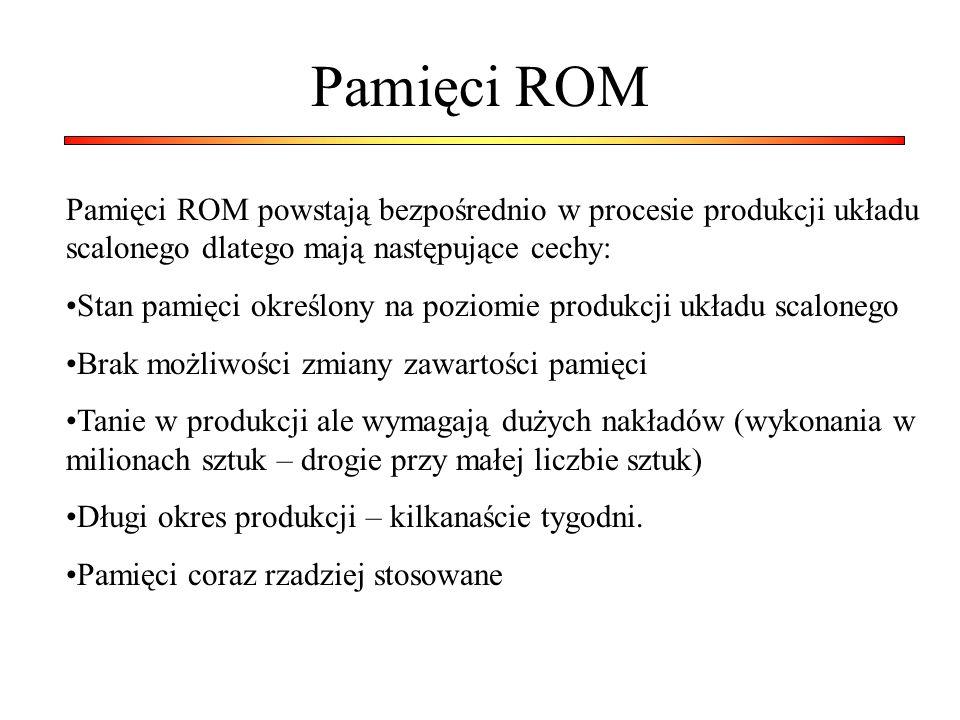Pamięci ROM Pamięci ROM powstają bezpośrednio w procesie produkcji układu scalonego dlatego mają następujące cechy: