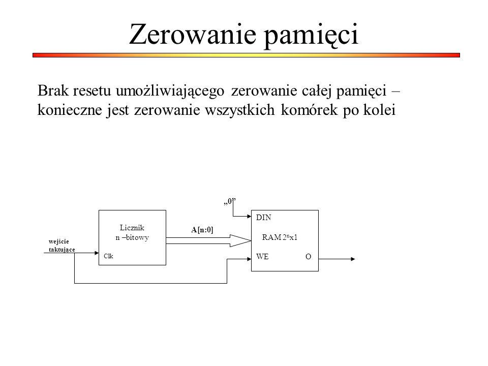 Zerowanie pamięci Brak resetu umożliwiającego zerowanie całej pamięci – konieczne jest zerowanie wszystkich komórek po kolei.