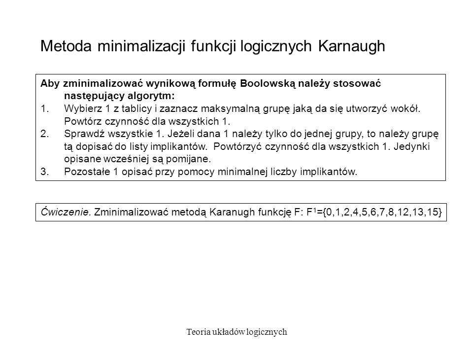 Metoda minimalizacji funkcji logicznych Karnaugh