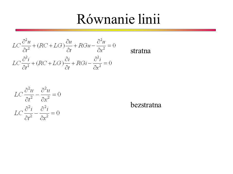Równanie linii stratna bezstratna