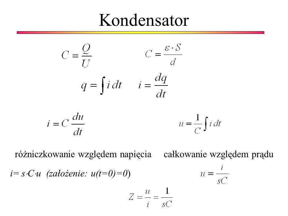 Kondensator różniczkowanie względem napięcia całkowanie względem prądu