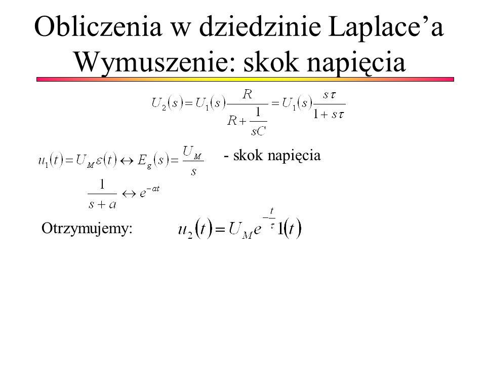 Obliczenia w dziedzinie Laplace'a Wymuszenie: skok napięcia