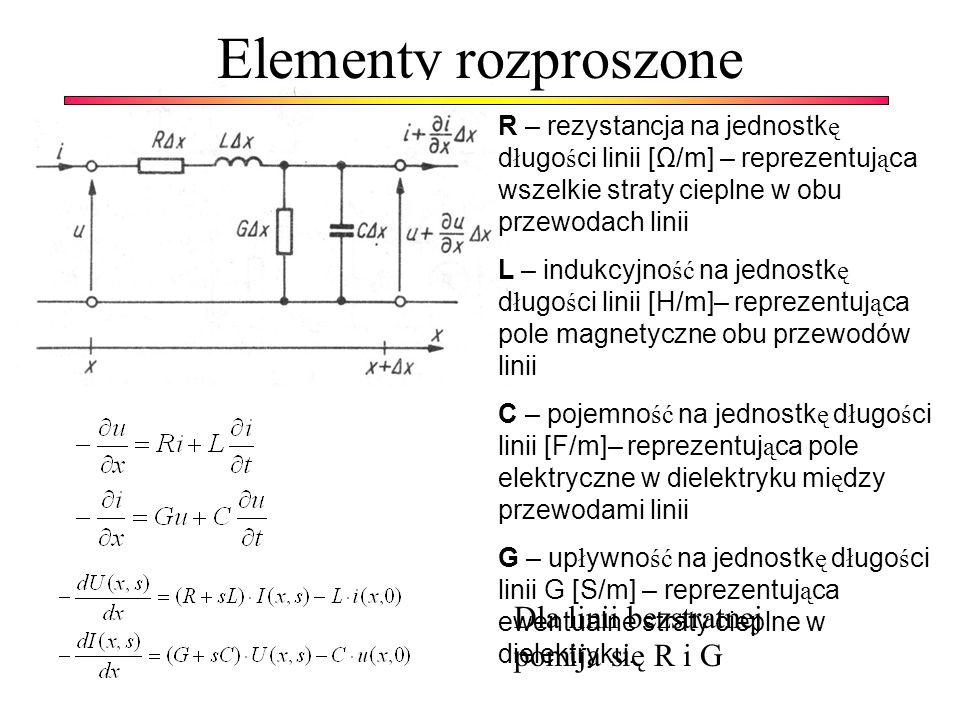 Elementy rozproszone Dla linii bezstratnej pomija się R i G