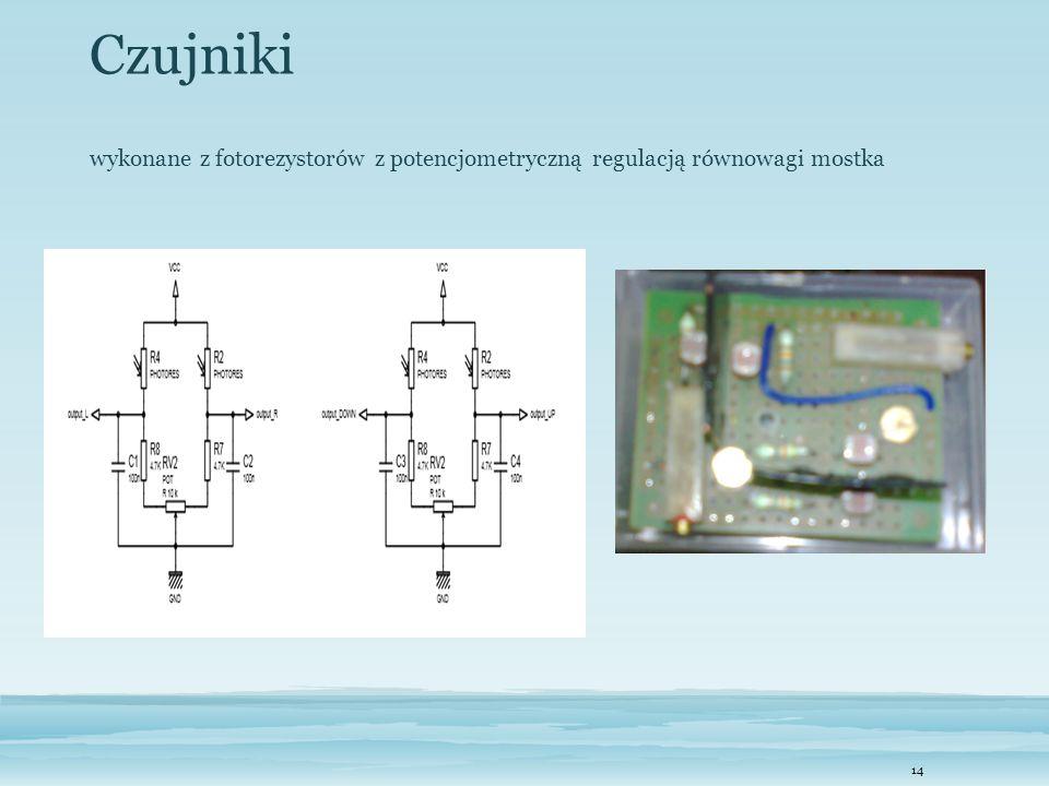 Czujniki wykonane z fotorezystorów z potencjometryczną regulacją równowagi mostka