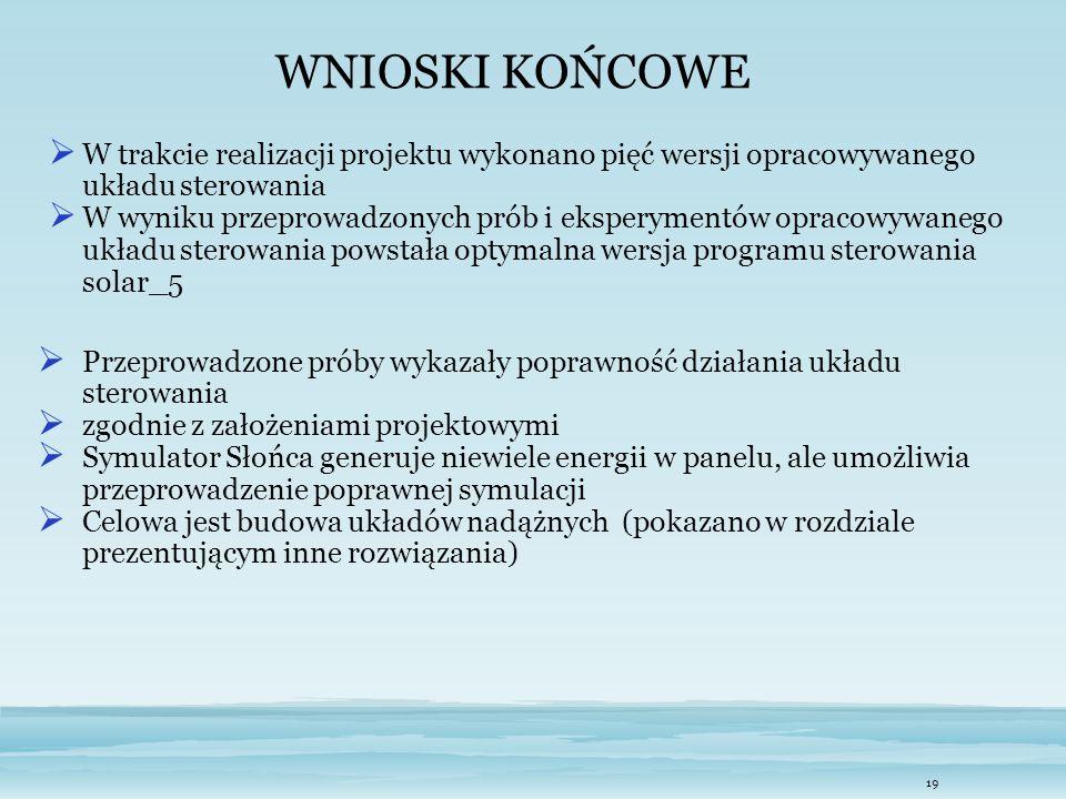 WNIOSKI KOŃCOWE W trakcie realizacji projektu wykonano pięć wersji opracowywanego układu sterowania.
