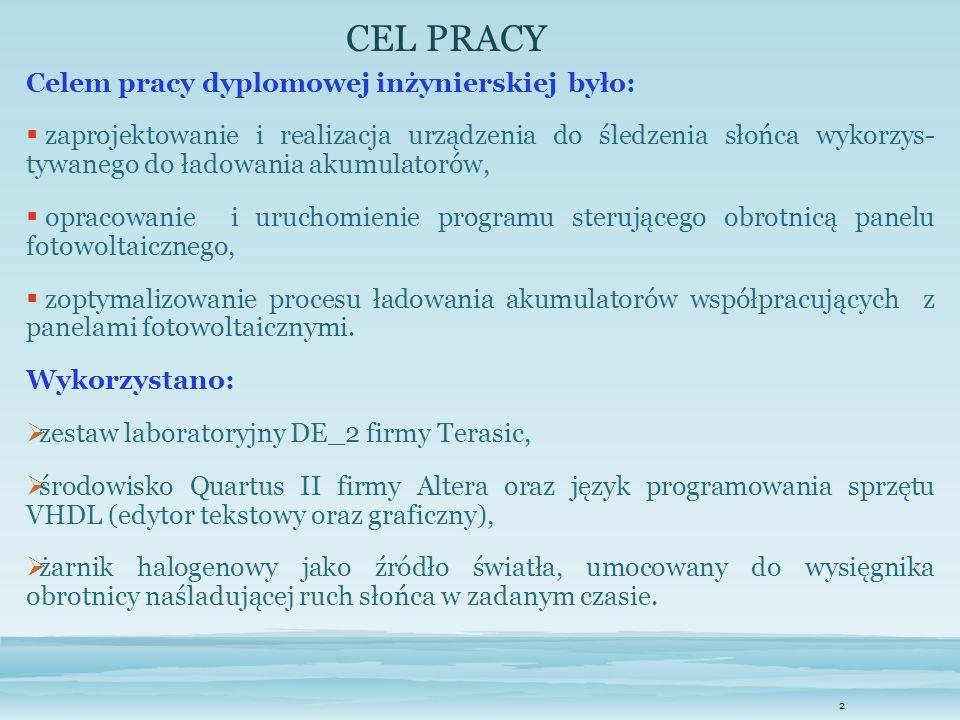 CEL PRACY Celem pracy dyplomowej inżynierskiej było: