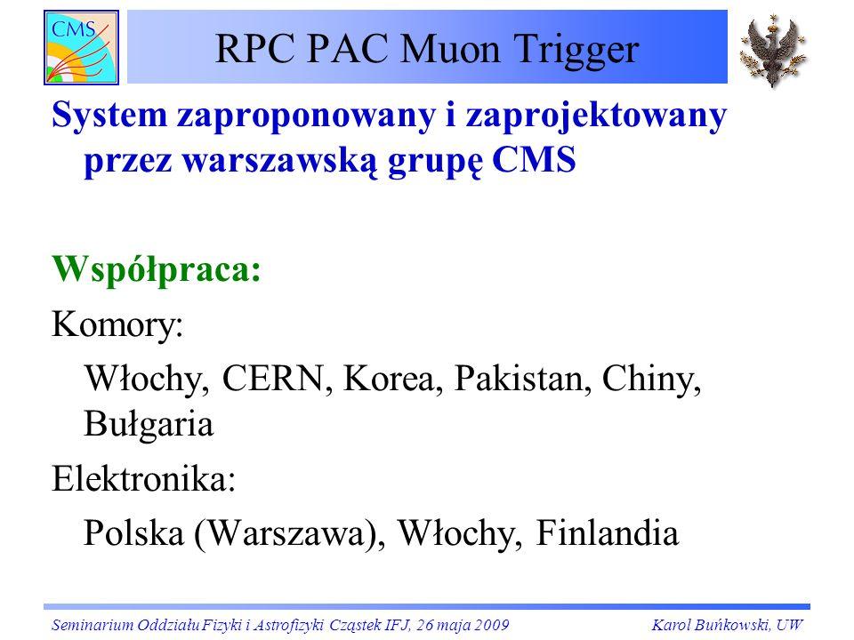 RPC PAC Muon TriggerSystem zaproponowany i zaprojektowany przez warszawską grupę CMS. Współpraca: Komory: