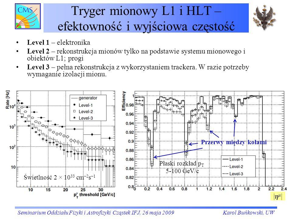 Tryger mionowy L1 i HLT – efektowność i wyjściowa częstość