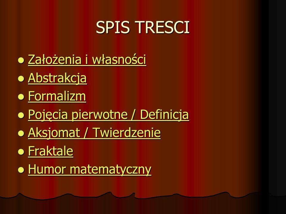 SPIS TRESCI Założenia i własności Abstrakcja Formalizm