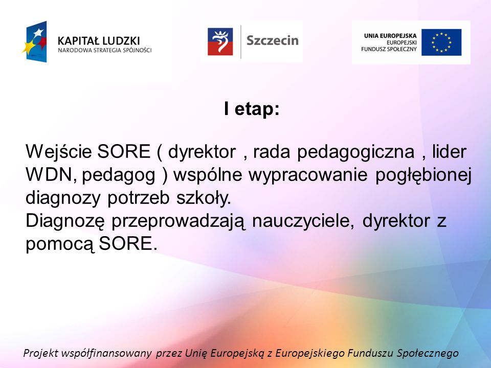 Diagnozę przeprowadzają nauczyciele, dyrektor z pomocą SORE.