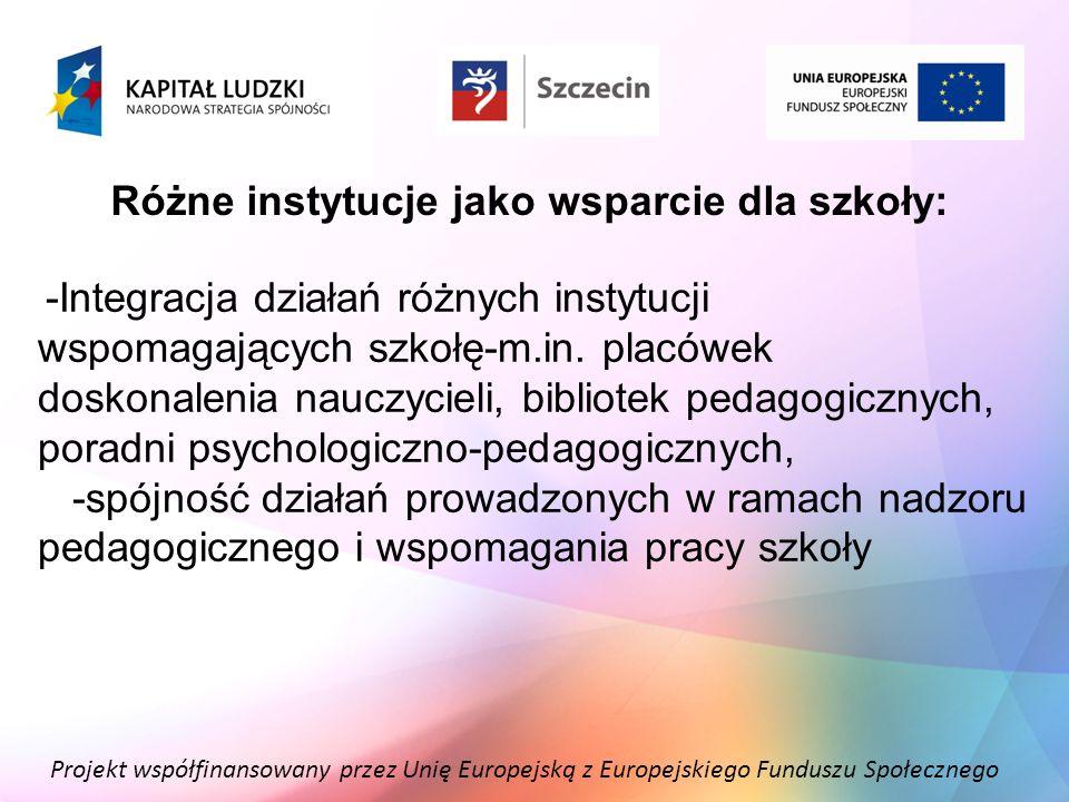 Różne instytucje jako wsparcie dla szkoły: