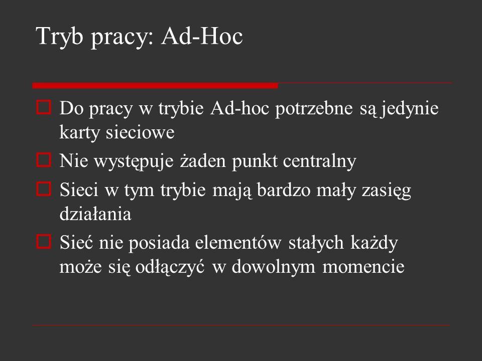 Tryb pracy: Ad-Hoc Do pracy w trybie Ad-hoc potrzebne są jedynie karty sieciowe. Nie występuje żaden punkt centralny.