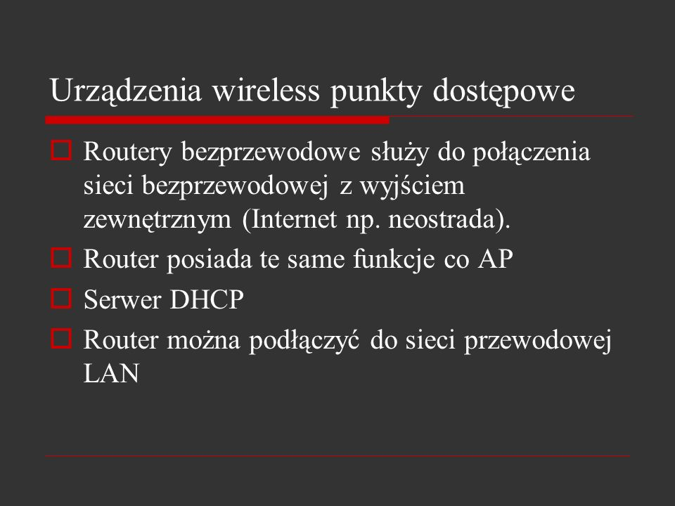 Urządzenia wireless punkty dostępowe