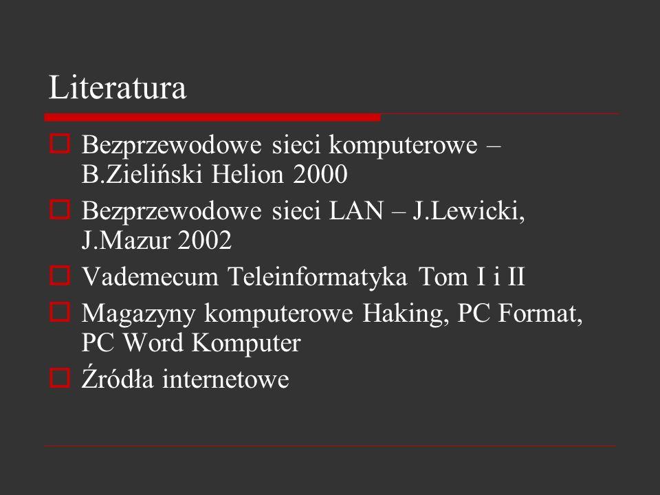 Literatura Bezprzewodowe sieci komputerowe – B.Zieliński Helion 2000